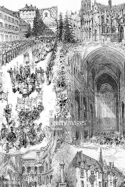 consacration of saint-epvre basilica in nancy - lorraine stock illustrations, clip art, cartoons, & icons
