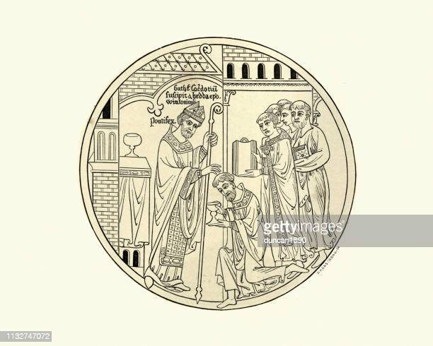 consecration of saint guthlac by hedda of winchester, 12th century - bishop clergy stock illustrations, clip art, cartoons, & icons