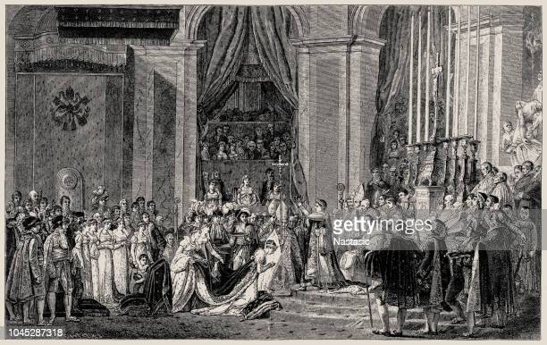 consecration of the emperor napoleon i and coronation of the empress josephine by jacques-louis david (1748-1825) french painter in the neoclassical style - corona zon stock illustrations