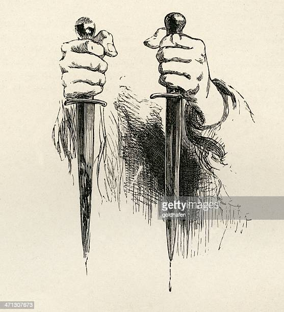 conspiray - bloody daggers - murder stock illustrations