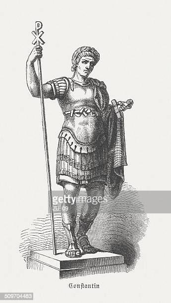 constantine the great (c.272-337), roman emperor, wood engraving, published 1864 - emperor stock illustrations, clip art, cartoons, & icons