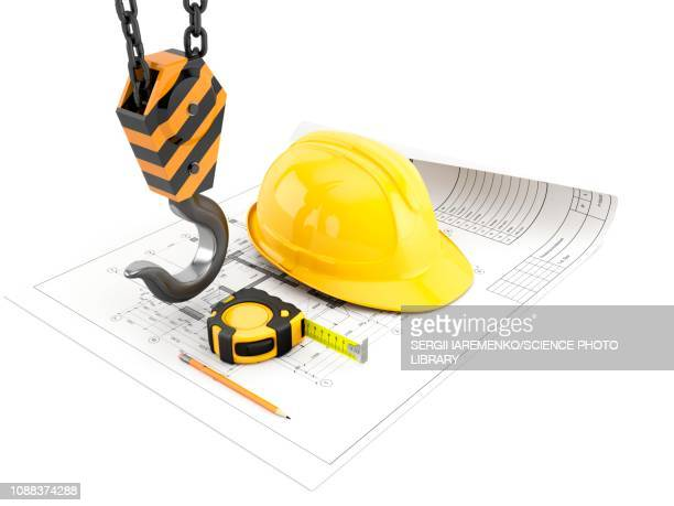 Construction and engineering tools, illustration