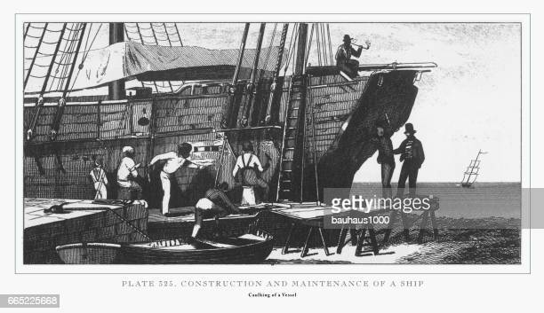 Construction and Maintenance of a Ship Engraving, 1851