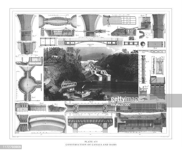construction of canals and dams engraving antique illustration, published 1851 - architectural feature stock illustrations