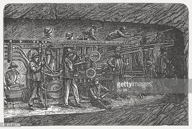construction of fréjus rail tunnel, wood engraving, published in 1880 - auvergne rhône alpes stock illustrations, clip art, cartoons, & icons