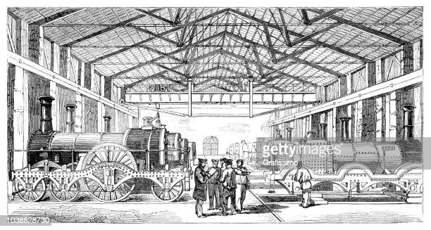 Construction of locomotive at Great-Western Railway in Wiltshire England 1854
