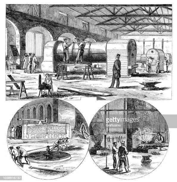 Construction of locomotive at Great-Western Railway in Wiltshire England