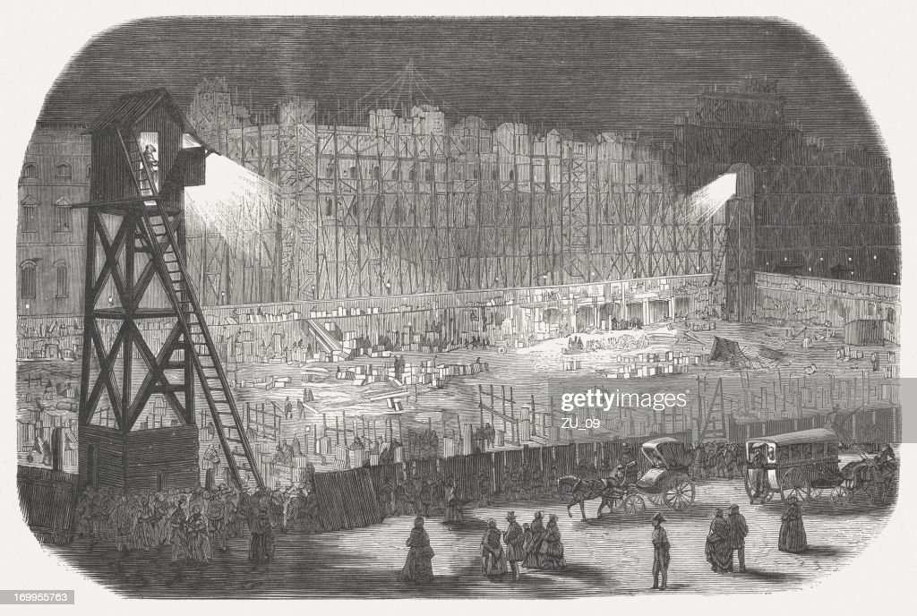 Construction of the Rivoli street (Paris), electric lighting, 19th century : stock illustration