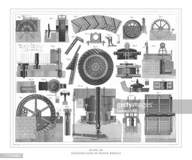 illustrazioni stock, clip art, cartoni animati e icone di tendenza di costruzione di ruote d'acqua incisione illustrazione antica, pubblicato nel 1851 - mulino ad acqua