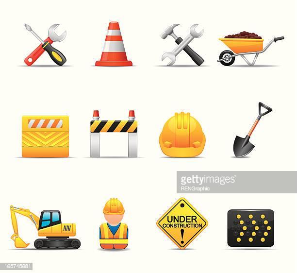 ilustraciones, imágenes clip art, dibujos animados e iconos de stock de sitio web conjunto de iconos de construcción/serie elegante - obrero