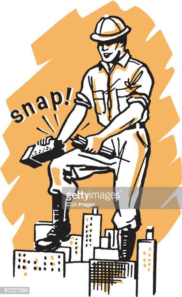 construction worker breaking a high rise - demolished stock illustrations