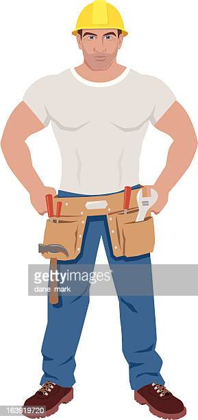 ilustrações, clipart, desenhos animados e ícones de trabalhador de construção - cinto de ferramentas
