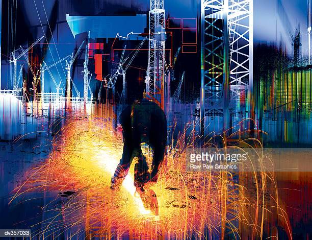 ilustraciones, imágenes clip art, dibujos animados e iconos de stock de construction worker in sparks superimposed over cranes - soldador