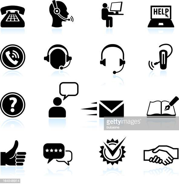 contact us and customer service black & white icon set - communication problems stock illustrations, clip art, cartoons, & icons