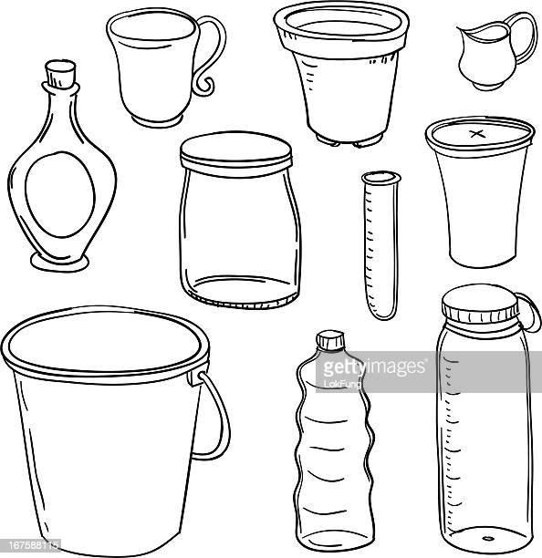 illustrations, cliparts, dessins animés et icônes de conteneurs collection en noir et blanc - seau