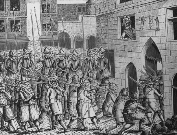 A contemporary engraving of the exit of the Spaniards...