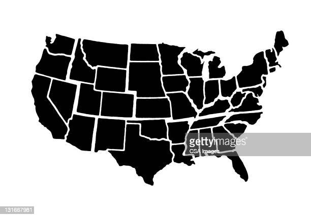 illustrazioni stock, clip art, cartoni animati e icone di tendenza di continental united states - carta geografica