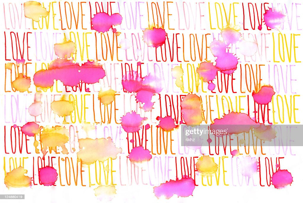 Continuous Word Love Under Rain Stock Il Ration