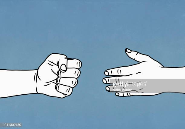 contrasting hands open and closed in a fist - {{ contactusnotification.cta }} stock illustrations