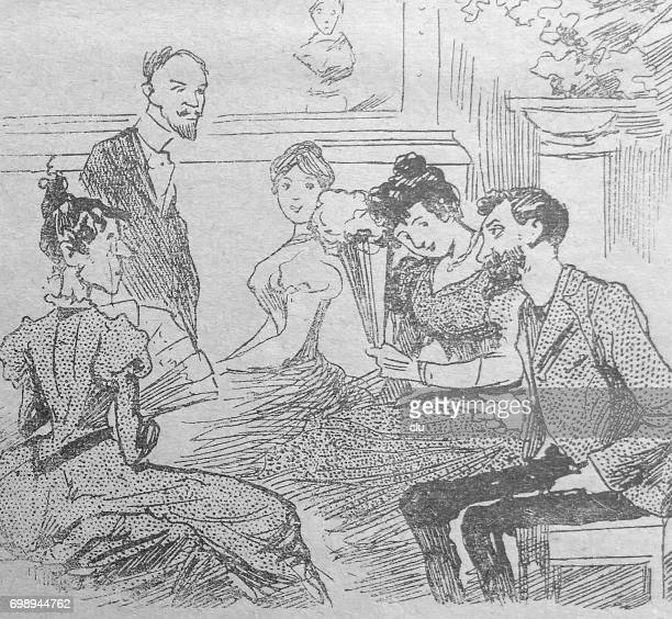 conversation in living room between old and young - zeichnung stock illustrations