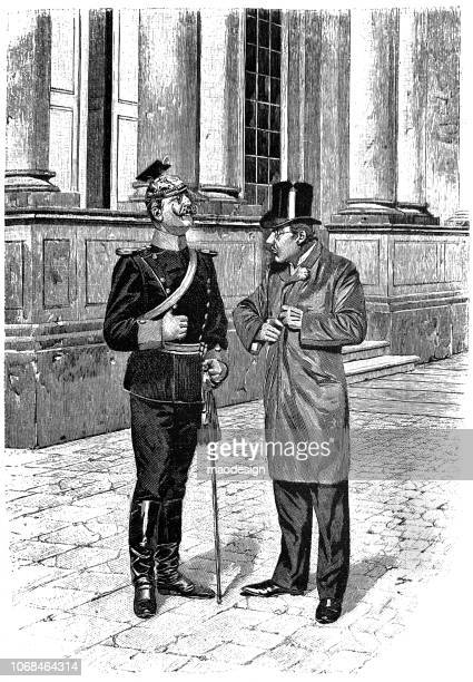 conversation of the dignitary with a prussian officer - 1896 - 1896 stock illustrations, clip art, cartoons, & icons