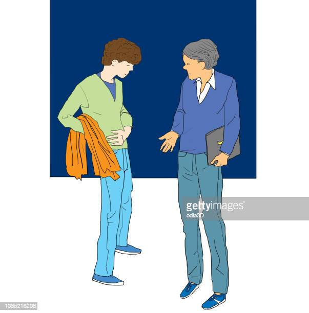 conversing with a co-worker - stomach pain stock illustrations, clip art, cartoons, & icons