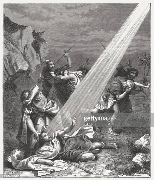 conversion of paul the apostle (acts 9), published in 1886 - paul the apostle stock illustrations