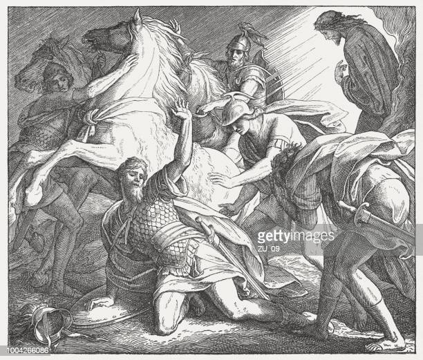 conversion of saul of tarsus (acts 9), published 1890 - paul the apostle stock illustrations