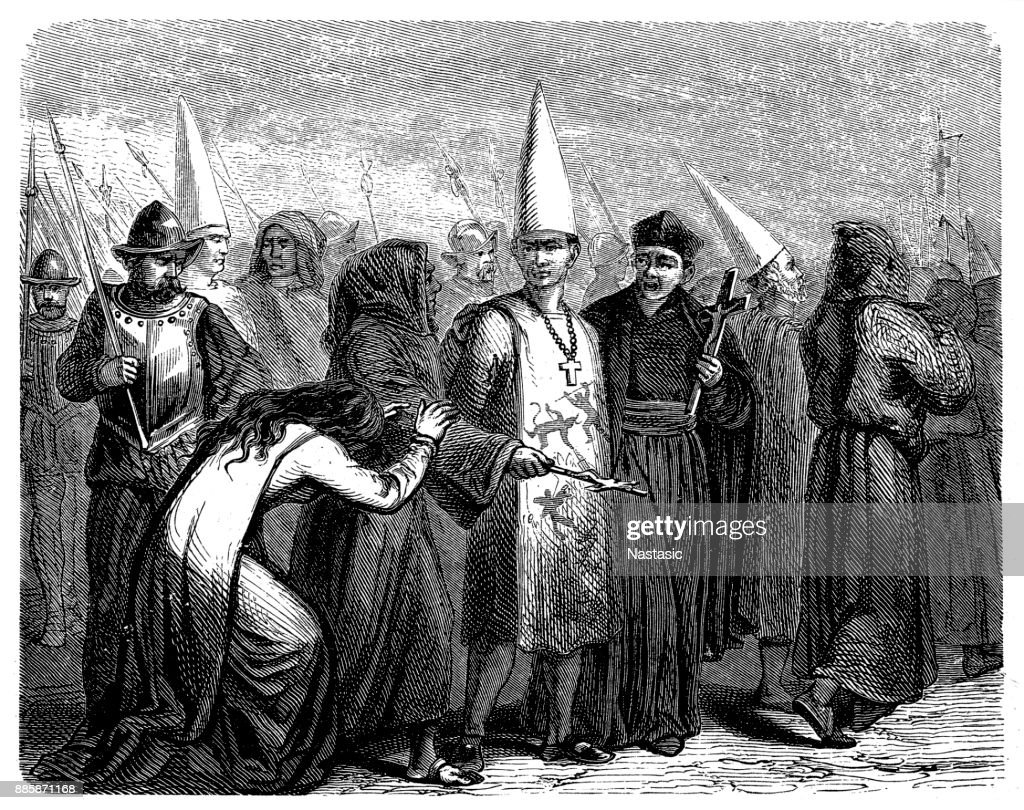 Convicted heretic on the way to funeral pile, Spain, 16th century, : stock illustration