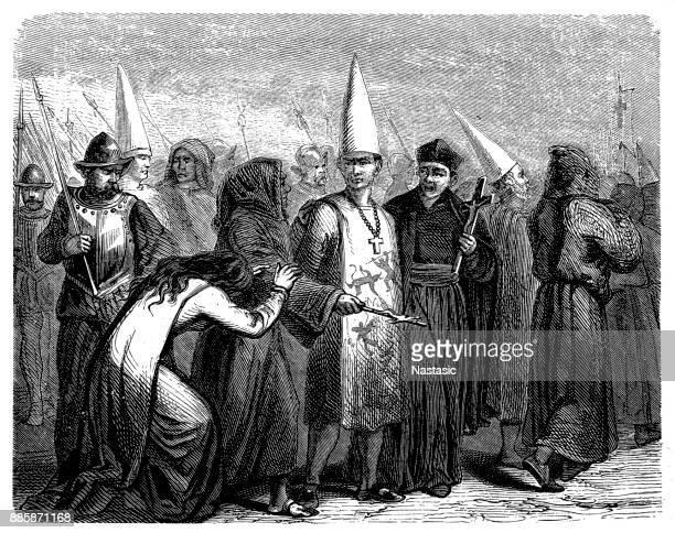 16 世紀、葬儀杭、スペインに行く途中の異端者を有罪判決を受けた - 処刑点のイラスト素材/クリップアート素材/マンガ素材/アイコン素材