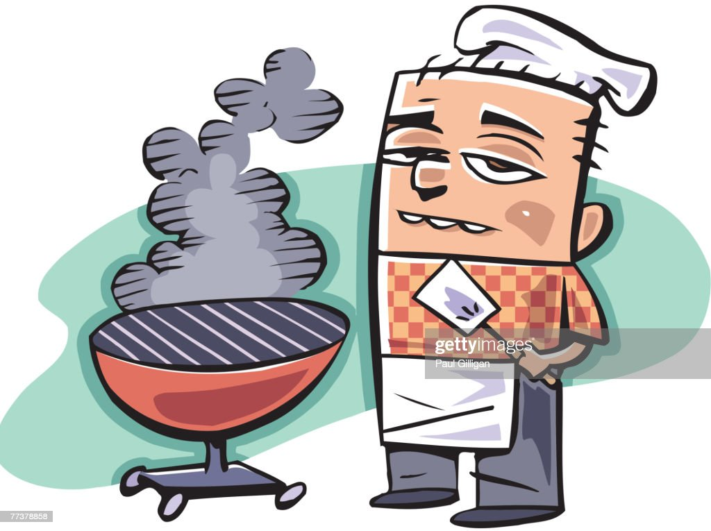 A cook standing by a barbecue grill : Illustration