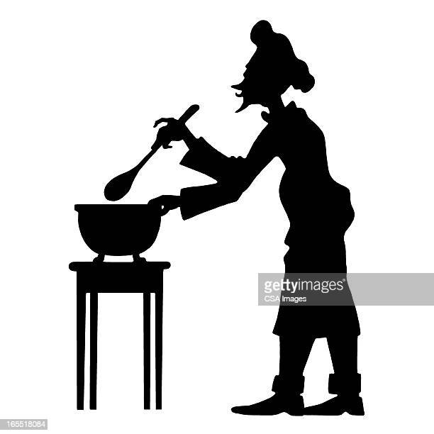 cook stirring a pot - chef stock illustrations
