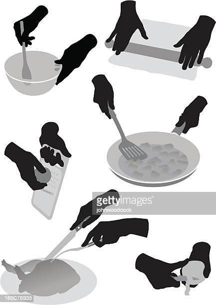ilustraciones, imágenes clip art, dibujos animados e iconos de stock de cookery siluetas - pollo asado