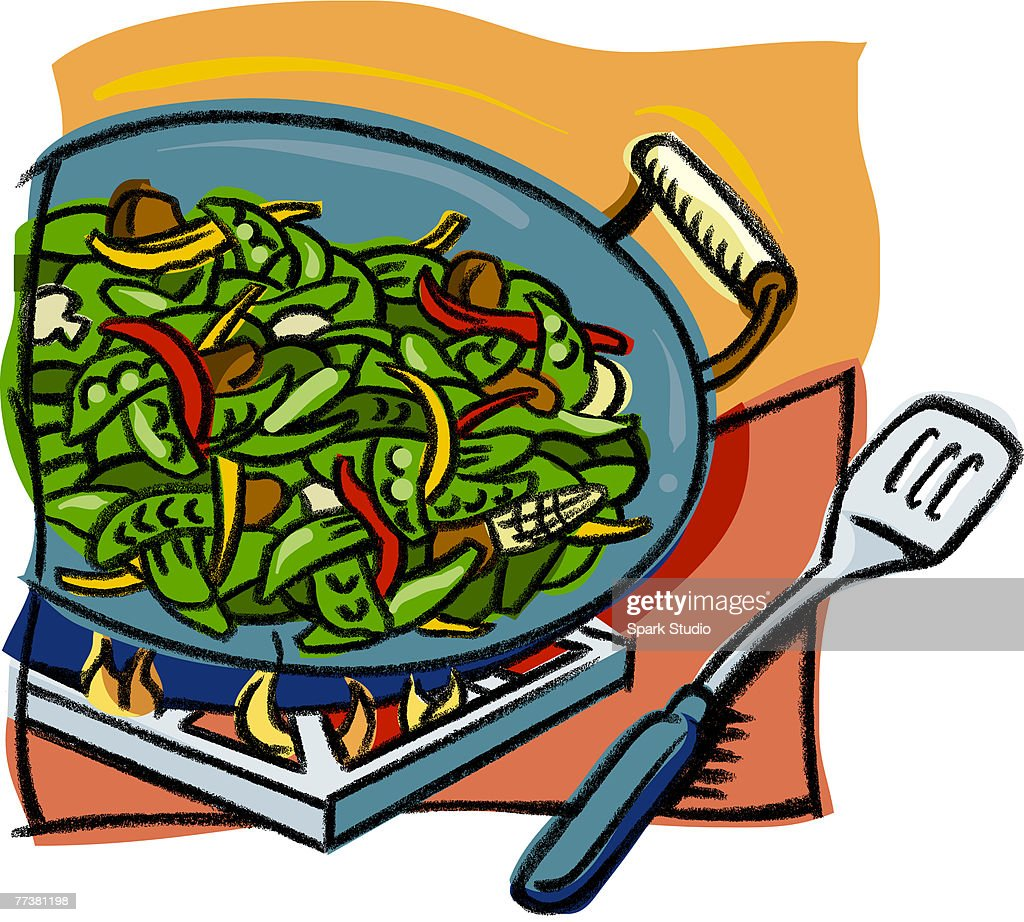 Cooking a stir fry dish in a wok : Illustration