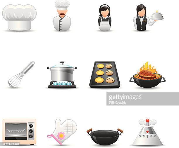 cooking & restaurant icon set| elegant series - egg beater stock illustrations, clip art, cartoons, & icons