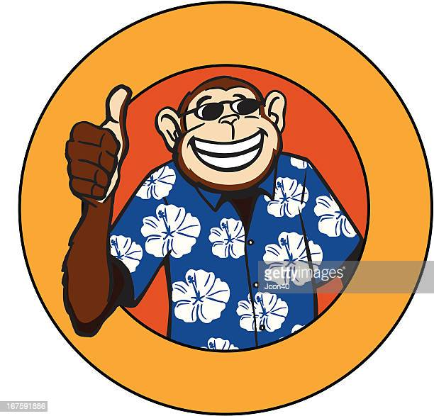 cool monkey - hawaiian shirt stock illustrations