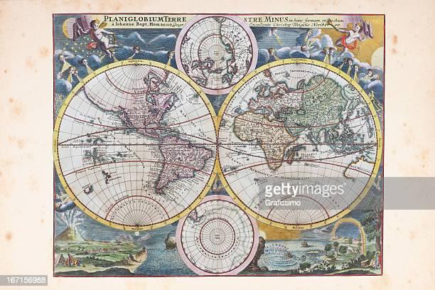 illustrazioni stock, clip art, cartoni animati e icone di tendenza di rame incisione da 1720 con la mappa del mondo - xvii° secolo