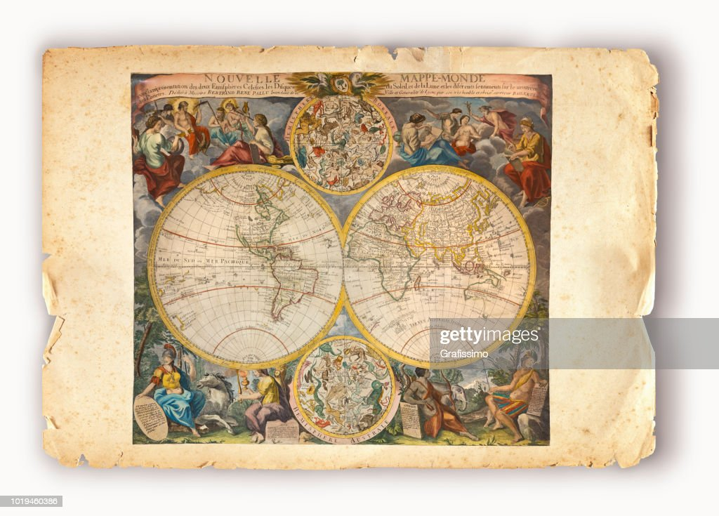 Copper Engraving From 1750 Showing The World Map Mapa Mundi Stock