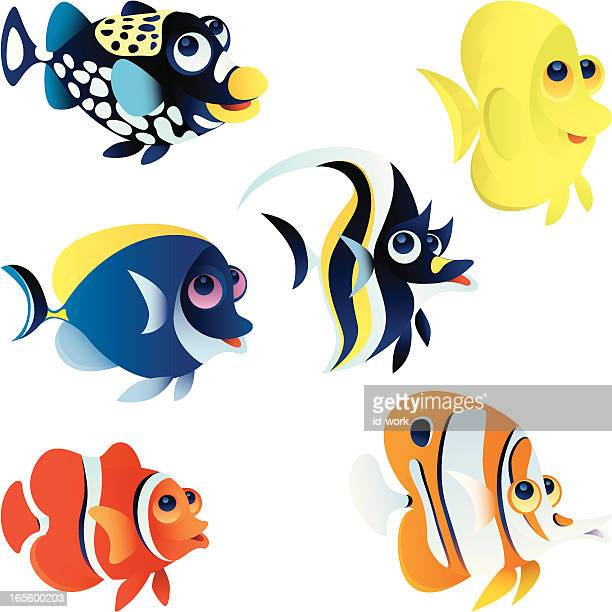 coral fishes - butterflyfish stock illustrations, clip art, cartoons, & icons