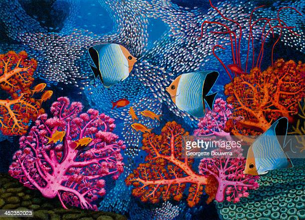 Coral reef scenery with fish