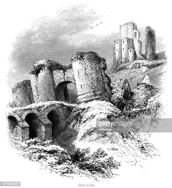 Corfe Castle, Dorset (Victorian engraving)