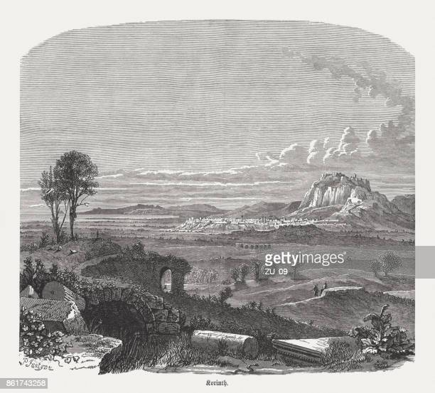 corinth in the 19th century, wood engraving, published in 1886 - mountain peak stock illustrations, clip art, cartoons, & icons
