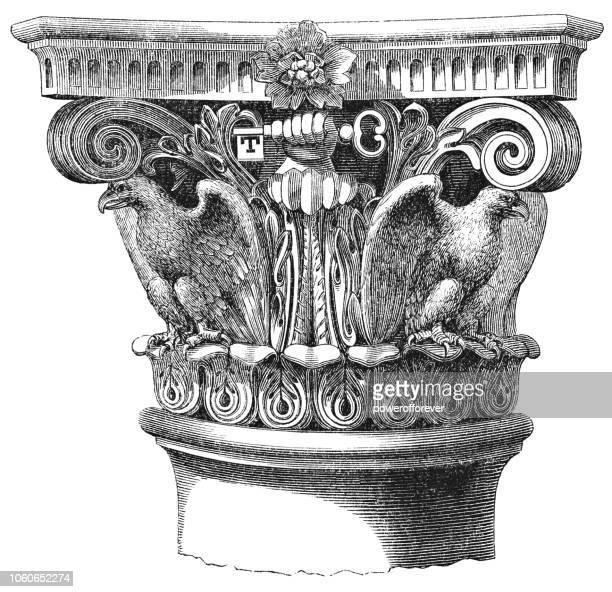 corinthian capital column detail of the treasury building in washington d.c., united states (1859) - corinthian stock illustrations, clip art, cartoons, & icons