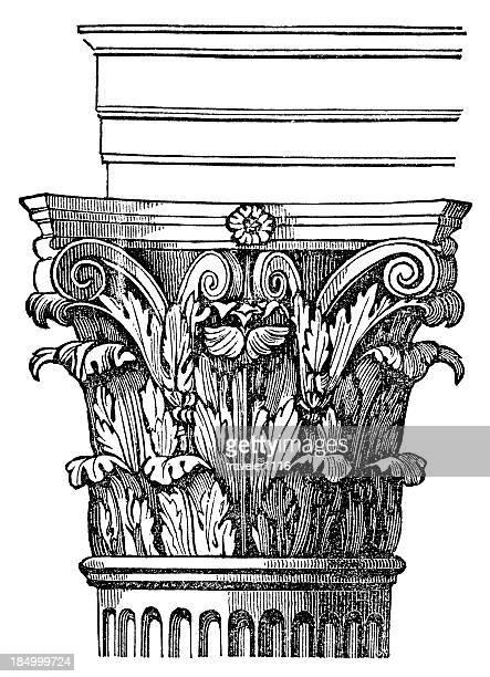 corinthian column - corinthian stock illustrations, clip art, cartoons, & icons