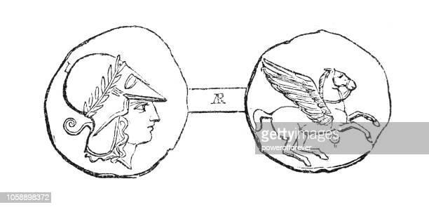 コリント式 tridrachm 銀貨 (紀元前 4 世紀) - アテネ点のイラスト素材/クリップアート素材/マンガ素材/アイコン素材