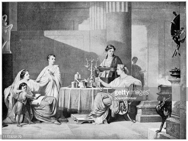 cornelia counting her jewels by heinrich frederic schopin - 19th century - ancient civilization stock illustrations