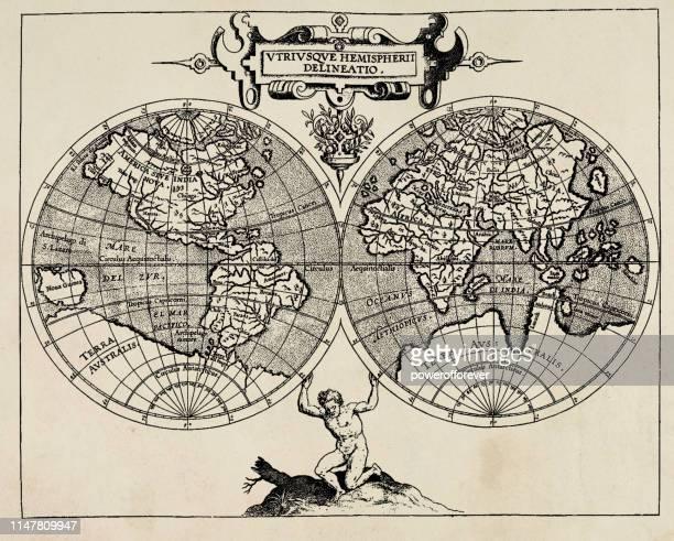 cornelius wytfliet's world map - 16th century - 16th century style stock illustrations