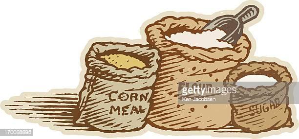 cornmeal, flour, and sugar - cornmeal stock illustrations, clip art, cartoons, & icons