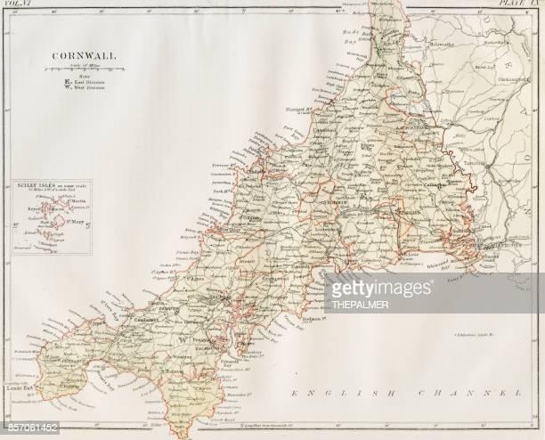 コーンウォール地図 1884 - イングランド コーンウォール点のイラスト素材/クリップアート素材/マンガ素材/アイコン素材