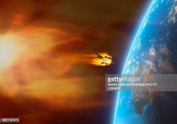 Coronal mass ejection engulfing satellite, illustration